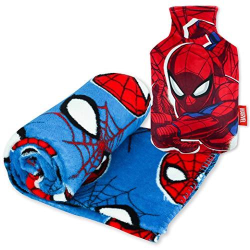 Spiderman Kuscheldecke und Wärmflasche Kinder Pack Baby Bettwäsche Weich und Wärmflasche mit Bezug bei Kälte Design | Originelle Geschenke für Kinder