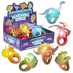 2. Kangaroo's Kid's Flashing Dinosaur Jelly Toy Rings (12-Pack)