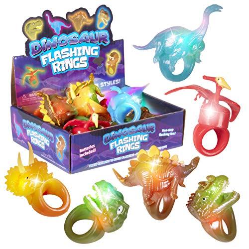 Kangaroo's Jumbo Flashing Dinosaur Jelly, Bumpy Rings, (12-Pack) Toy Rings, LED or Light Up Party Favors For Kids; T-Rex, Brontosaurus, Triceratops, Stegosaurus, Pterodactyl and Allosaurus