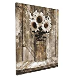 Rustic Floral Country Farmhouse Sunflower Canvas Print Wall Art 16''x20'' Collage Picture Painting for Living Room Bedroom Modern Home Decor Ready to Hang Stretched and Framed Artwork