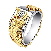 Rigmookj ダイヤモンド シルバーリング リング 龍紋 ファッションドラゴンリングとダイヤモンドの個性創造的な男性と女性のリング ドラゴンデザイン指輪 ファッション女性贈り物(ゴールド+シルバー,8)