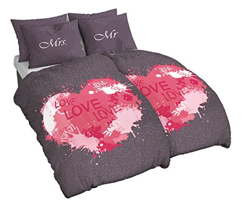 4 Teilig Baumwolle Renforce Partner Bettwäsche Mr. Und Mrs. Love mit Wende Kissenbezug Grau Pink, 2X 135x200 2X 80x80 cm