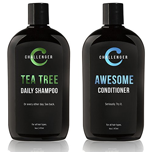 Challenger Men's Tea Tree Shampoo & Conditioner Combo, 2x 16 Oz Bottles | Sulfate Free w/ Vitamins, Argan Oil, Biotin | Keratin, Vitamin C & D, Protein, Artificial Color & Gluten Free | Gentle Clean
