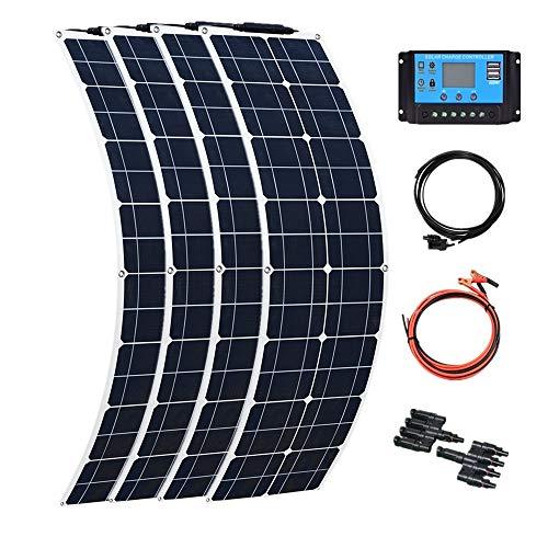 YUANFENGPOWER Kit pannello solare 200w 12v 4 x pannelli solari 50w 16v flessibile monocristallino per barca, auto, roulotte, camper, carica batteria a 12 v