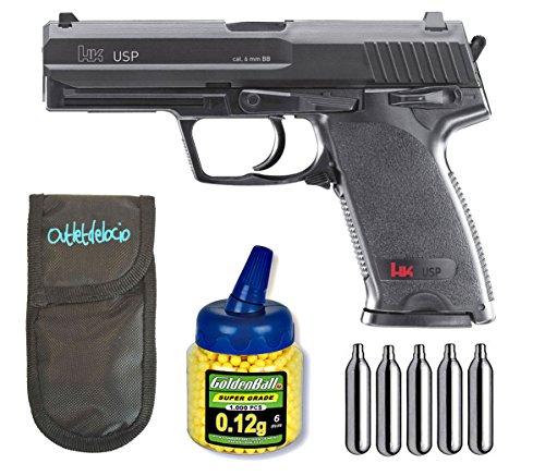 Outletdelocio. Pistola Airsoft Umarex U25561. H&K USP. + Funda portabalines + Biberon 1000 Bolas + bombonas Co2. 23054/21993/29318