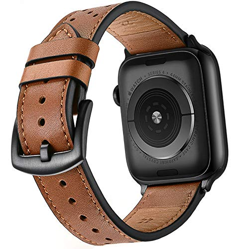 Mifa - Correa de piel vintage de repuesto, elegante y clásica, con hebilla de acero inoxidable para Apple Watch 42 mm, compatible con iWatch Series 1, 2 y 3, Nike Sports