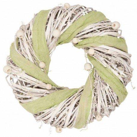 Ghirlanda con rami bianchi e fettuccia verde