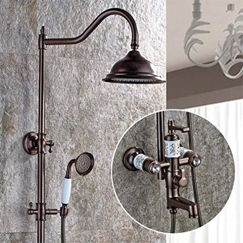 KANJJ-YU Juego de ducha termostática redonda con sistema de ducha de cerámica de latón cromado para baño de pared (color: -, tamaño: -) cromado