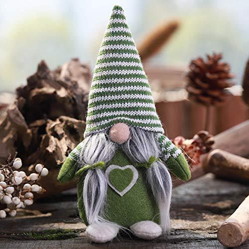 1 unids Sombrero de Rayas Sección Atado Barba Sin Cara Adornos Muñecas Escena de Navidad Decoración Muñeca (Color : Green)