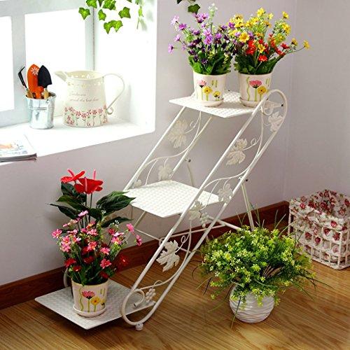 $Etagère d'exposition Porte-fleurs en fer, balcon Ensemble de pot de fleurs Salon Étagères de jardin d'atterrissage Plateau de façade ( Couleur : Blanc )