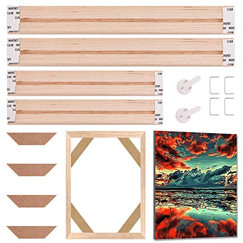 GORGECRAFT Bastidores de lona maciza, tiras de madera de pino premium, juego de barras para pinturas al óleo, pósteres, impresiones de bricolaje, suministros de accesorios, 40,6 x 20,3 cm