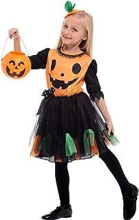Kids Dressing Up Costumes, Girls Pumpkin Tutu Halloween Costume Fancy Dress Orange Black (Color : Black, Size : L)