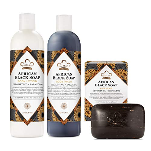 Nubian Heritage Bath and Body Kit Skin Care Products African Black Soap Cleansing and Soothing Pack of 3