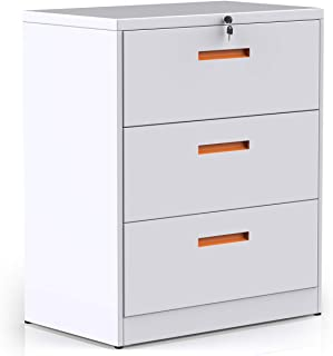3 Drawer File Cabinet Lockable, Metal Lateral Filing Cabinet with Lock, Black