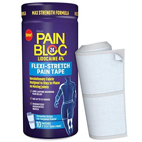 PainBloc24 Flexi-Stretch, Lidocaine 4% Pain Patch, OTC Maximum Strength Lidocaine Patches for...