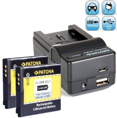 2X PATONA Ersatz für Akku Panasonic DMW BCL7 E (600mAh) - Ladegerät 4in1 - Für Lumix DMC SZ3 SZ8 SZ9 SZ10 F5 FS50 XS1 EG - NEUHEIT mit MicroUSB-Eingang