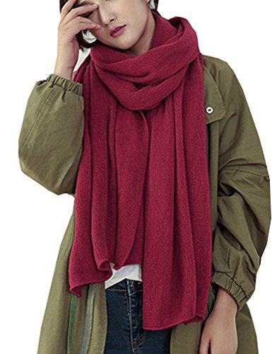 Wander Agio Womens Warm Long Shawl Winter Infinity Large Scarf Pure Color Purplish Red