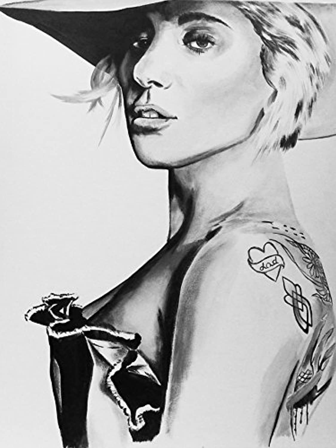 Buyartforless Canvas Lady Gaga Painting Gallery Wrapped Wall Decor by Ed Capeau (24x32)
