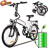 Folding Electric Bike with Removable 36V 8Ah Lithium-Ion Battery Bicycle Lightweight and Aluminum Ebike with 250W Powerful Motor and 7 Speed Shifter,Fast Battery Charger (White)