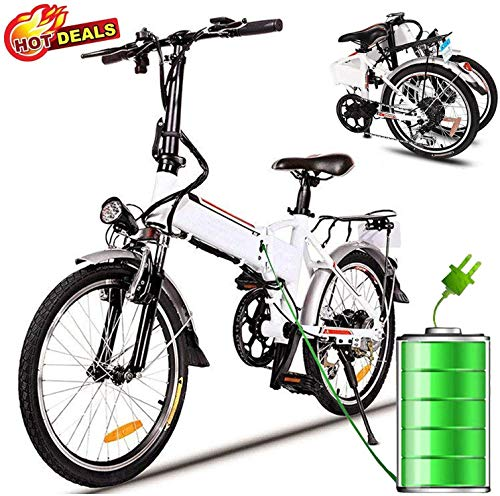 Hurbo Folding Electric Bike with Removable 36V 8Ah Lithium-Ion Battery Bicycle Lightweight and Aluminum Ebike with with 250W Powerful Motor and 7 Speed Shifter,Fast Battery Charger (White)