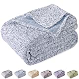 KAWAHOME Summer Knit Blanket Lightweight Breathable Fuzzy Heather Jersey Thin Blanket for Couch Sofa Bed King Size 108 X 90 Inches Blue and White