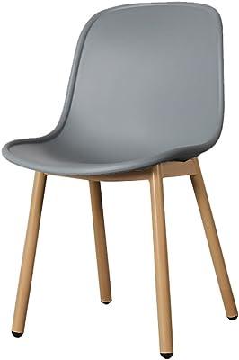 オフィスチェアチェアヨーロッパの大人のカジュアル錬鉄ファッションチェア、7色で利用可能/ 46 * 43 * 82cm ZHML (Color : Gray+wood grain iron feet)