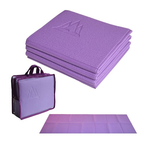 "Khataland YoFoMat - Best Travel Yoga Mat - Purple, Ultra Thick 1/4"", Extra Long 72"" -Foldable to 12""x10""x4"", Eco Friendly, Free From Phthalates/Latex"
