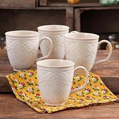 Charming 'Antique Style' Farmhouse Lace Mug Set (LINEN)