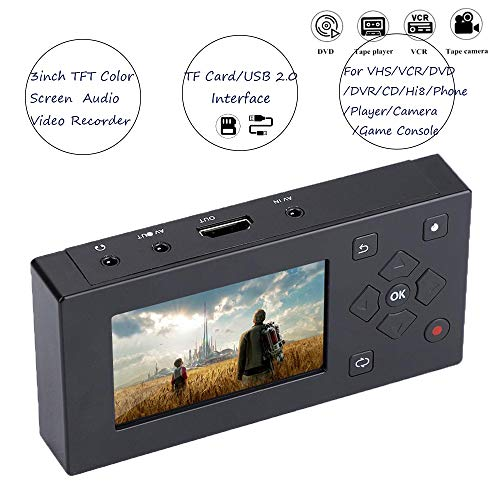 Audio Video Capture Recording Player, draagbare USB/SD 3 inch TFT scherm, AV-recorder converter real-time video oppassen voor cassetterecorder camera/VHS/VCR/DVD/DVR/Hi8 spelconsole.