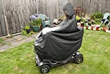 Mobility Scooter Cape Waterproof Rain Coat Poncho Hood Cover Black Clear PVC