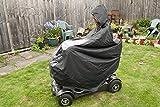 Elektromobil Regenschutz, Regenjacke, Regencape für Rollstuhlfahrer – Rollstuhlponcho mit Kapuze und Reißverschluss - schützt Fahrer und Seniorenmobil vor Regen und Spritzwasser