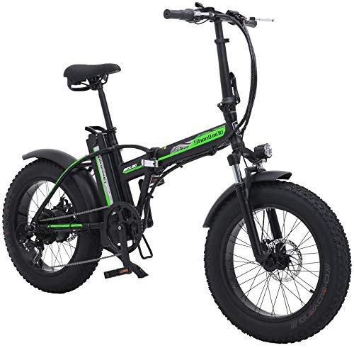 Sheng Milo mx20 vehículo eléctrico Plegable 500W 48V 15ah Bicicleta de montaña para Adultos (Verde, Una batería)
