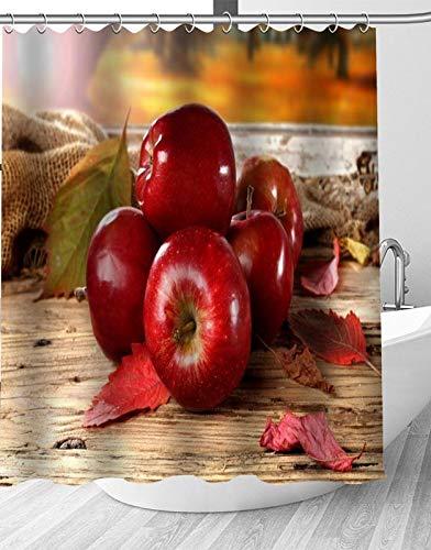 YEDL Neue rote Frucht Apfel Duschvorhang Moderne Stoff Badvorhänge Home Decor Gardinen 180 × 180 cm