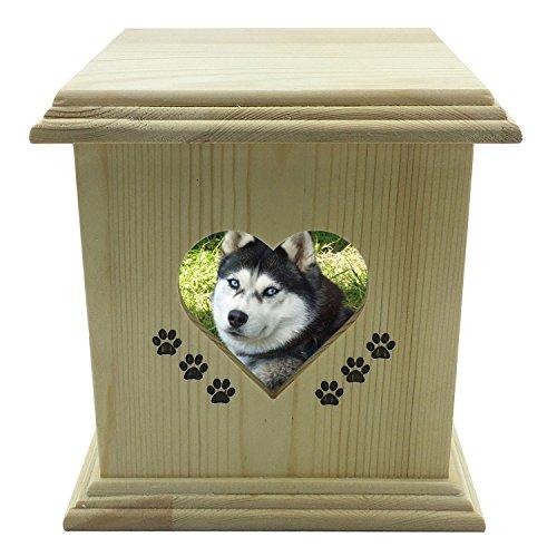 LZH Hecho a mano realmente de madera de madera Perro de perro de gato Urnas Foto Cofre de Urna de Memorial de mascotas para las cenizas Mediano TAMAÑO cuadro
