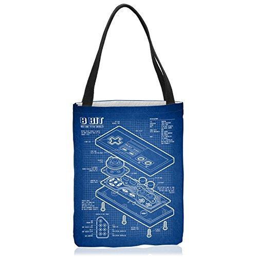VOID NES Controller Blaupause Tasche Einkaufs-Beutel Polyester Shopper Einkaufs-Tasche Bag 8-Bit Mario Donkey bros Kong, Polyestertasche Größe:Large
