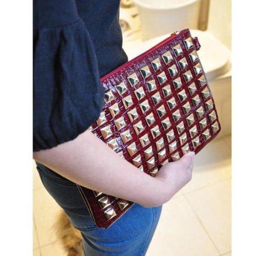 HuntGold 1X Nouveau sac à main sac à bandoulière avec rivets pour les femmes filles(rouge)