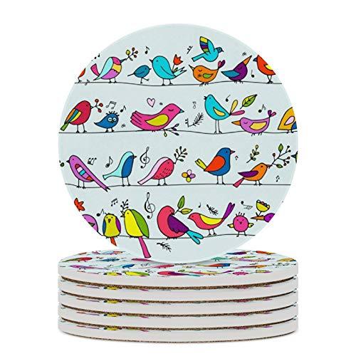 Juego de 6 posavasos para bebidas que absorben posavasos redondos de cerámica con base de corcho, coloridos pájaros con patrón de doodle de mesa de café para decoración del hogar