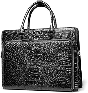 Business Men Briefcase Leather Man Bag Handbag Crocodile Leather Business Bag (Color : Black)