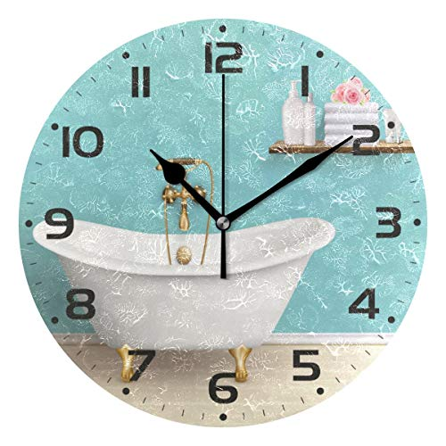 Qilmy Vintage Bathtub Wall Clock Battery Operated Silent Non Ticking Round Hanging Clock for Living Room Kitchen Bedroom Office School Decoration