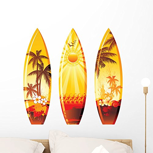 3 Surf Boards Wall Decal by Wallmonkeys Peel and Stick Graphic (24 in W x 23 in H) WM333535