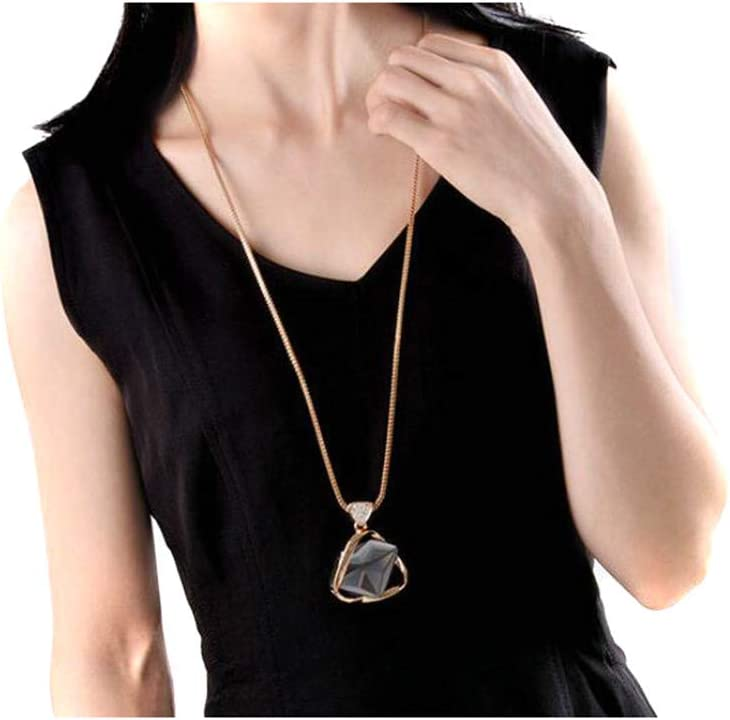 Eleusine Elegant Excellent Golden Womens Triangular Crystal Pendant Sweater Inlay