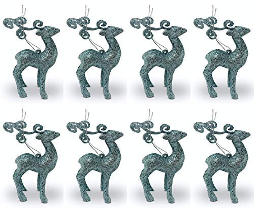 Aminori Set of 8 Hanging Glitter Reindeer Christmas Tree Hanging Decorations 10.5cm (Teal)