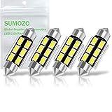 SUMOZO C5W Bombilla LED Festoon Bombillas LED Canbus sin errores 6SMD 5730 para interior de coche domo mapa puerta matrícula Bombillas 6000K Xenon Blanco Pack de 4 (39MM)