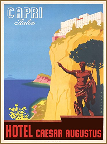 Capri Italy Italia Hotel Caesar Augustus Vintage Italian Travel Advertisement Art Poster Print. Poster measures 10 x 13.5 inches
