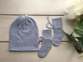 Calzini scarpette neonato da culla 100% Cashmere - Made in Umbria (TAGLI AUNICA 0 ANNI, CALZINI, CELESTE)