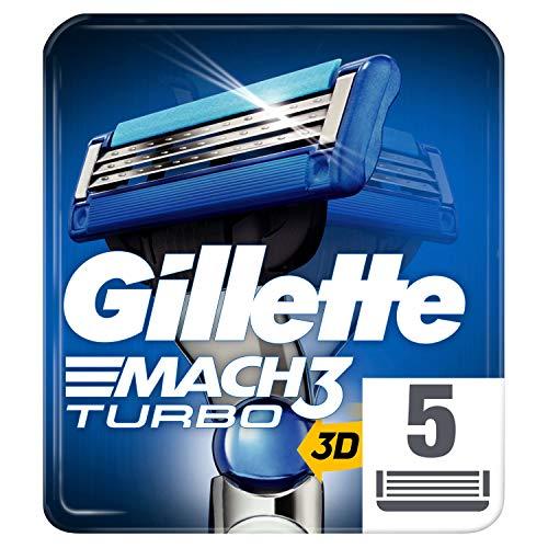Gillette Mach3 Turbo 3D Rasierklingen Für Männer, 5 Ersatzklingen, mit Klingen stärker als Stahl (Verpackung kann variieren)