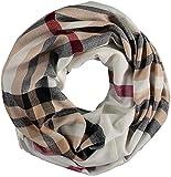 FRAAS Damen Loop-Schal Kariert - 60 x 78 cm Größe - Made in Germany - Stilvoller Schlauch-Schal mit Karo-Muster - Leichtes Rund-Tuch - Karierter Snood-Schal - The Plaid Naturweiß