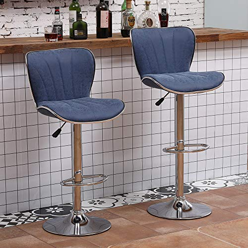 Ansley&HosHo Set of 2 Height Adjustable Bar Stool, PU Leather Bar Stool Chairs with Footrest Padded Swivel Barstool with Shell Back Chrome Legs for Home Bar Dining Room Counter Breakfast, Blue