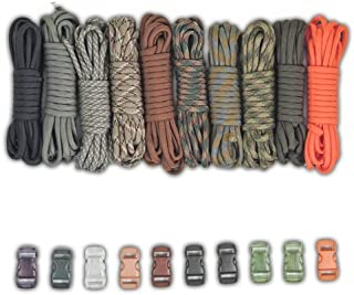 Paracord Planet Paracord Survival Bracelet Project Tan Colors Combo Kit with 100 Feet in 10 Colors and 10 Buckles