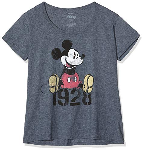 Disney Mickey Mouse Year Camiseta, Dark Heather, M para Mujer